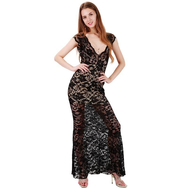 9af5082757577 Elegant Hollow Out Maxi Dress Nude Illusion Low V-Neck Backless Long  Evening Vestidos Longos Black Lace Floral Plus Size WB009121