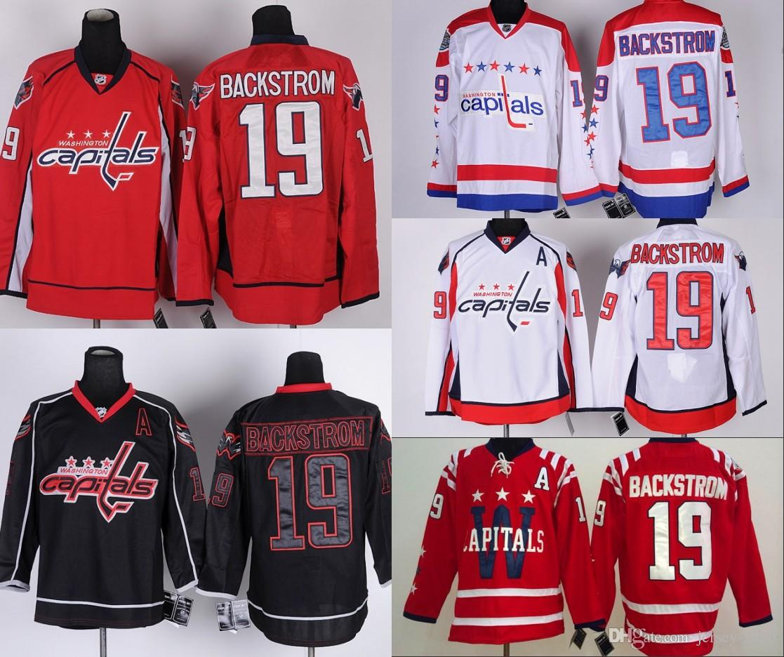 new style 92b38 a26c3 2016 MEN Washington Capitals Jerseys 19 Nicklas Backstrom jersey white red  Ice Hockey Jersey Third Jersey Embroidery Stitched S-3XL