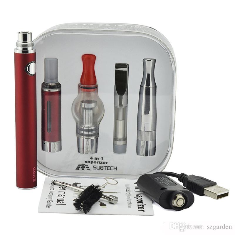 أحدث 4 في 1 بطارية evod السيجارة الإلكترونية متعددة vape المرذاذ كاتب كيت vape القلم mt3 الجاف عشب خزان 0268017