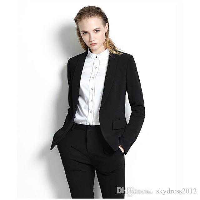 Siyah Bayan Iş Takımları Ofis Üniforma Tasarımları Kadın Pantolon Takım Elbise Slim Fit Örgün Pant Suits Için Düğün Smokin Özel