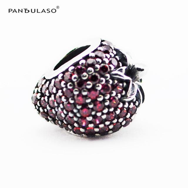 Pave Strawberry Charm Beads Sterling-Silver-jewelry Beads Fits Pandora Bracelets DIY Woman Bracelets Wholesale New Strawberry Beads