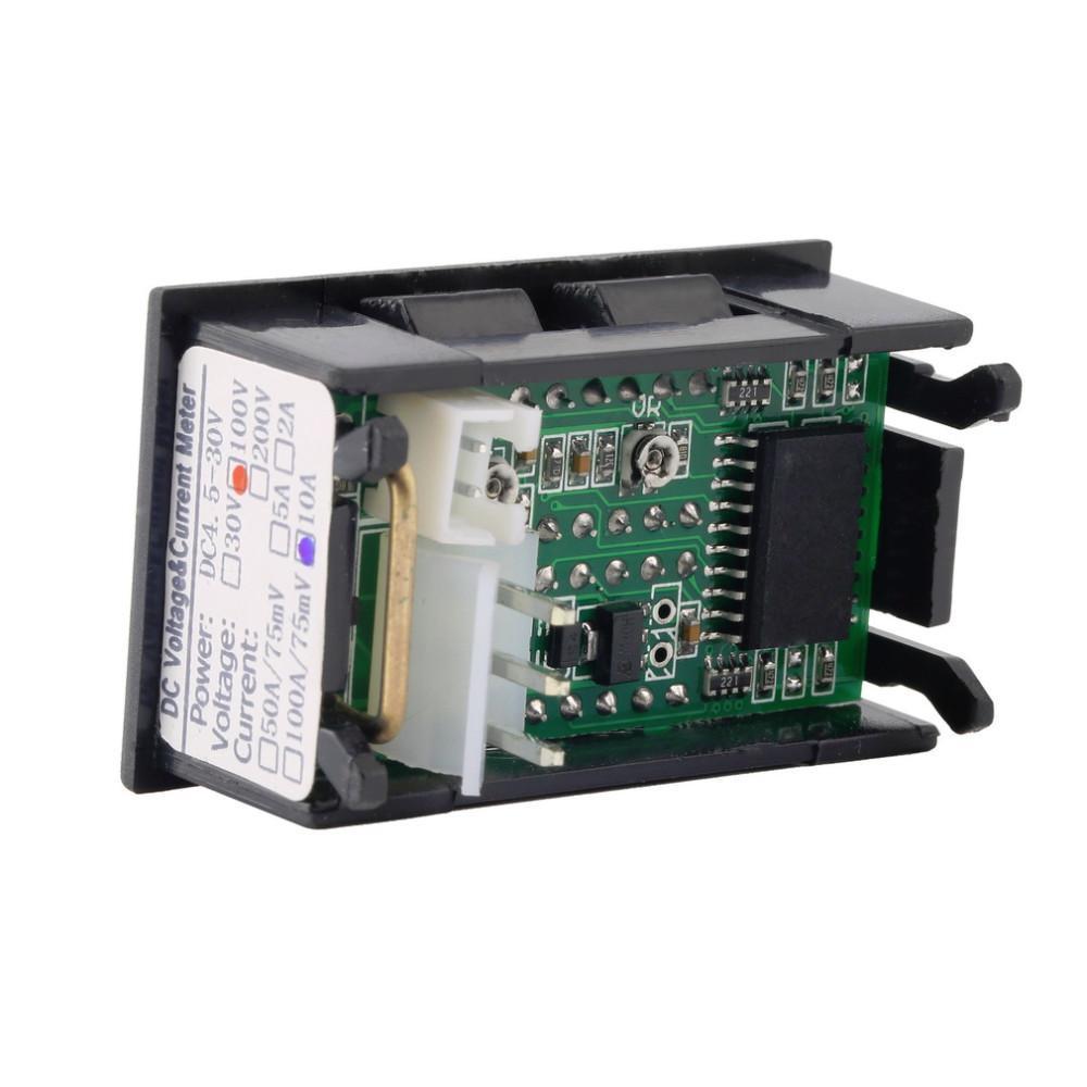 Coche DC 0V-100V 10A Voltímetro Amperímetro Azul + Rojo LED Amp Pantalla Dual Digital Medidor de Voltaje Medidor Voltaje Ampe al por mayor