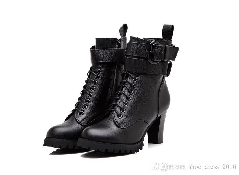 Damenschuhe Damen Stiefel High Heels Plateau Schnalle Reißverschluss Sapatos femininos Lace up Lederstiefel Größe 34 40
