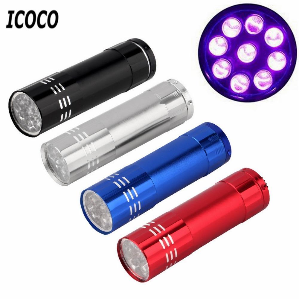 ICOCO LED UV Linternas Light Flash Torch Personalized Mini Ultra Violet Backlight Detection LED Flashlight