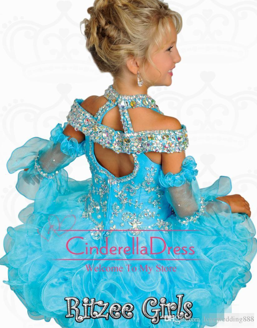 2019 Tutu Girl's Pageant Dresses Ritzee Girls Beaded Halter Off Tiers Tiers Organza Off Spalla spalla Backless Mini Girl Girl Princess Gowns