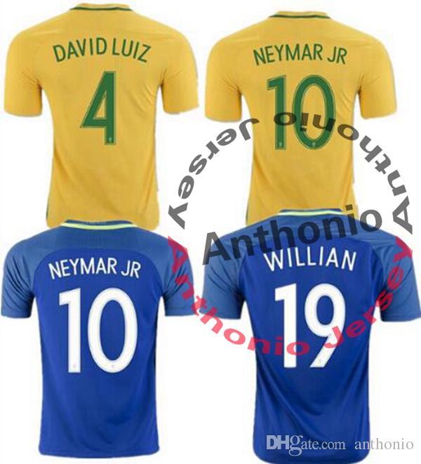5839f503d 2019 TOP Quality Brazil Jersey 2016 17 Soccer Jersey Camisa De Futebol  Brasil Neymar Oscar Home Away Jersey Adult Football Shirt Men Fast Deliver  From ...