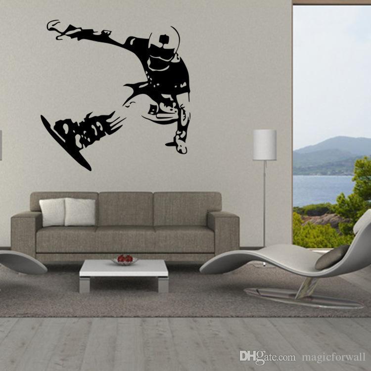 Sport Boys artístico el snowboard pegatinas de pared para chicos adolescentes Room Decor extraíble Patinar casero mural de la decoración de la pared Pósteres