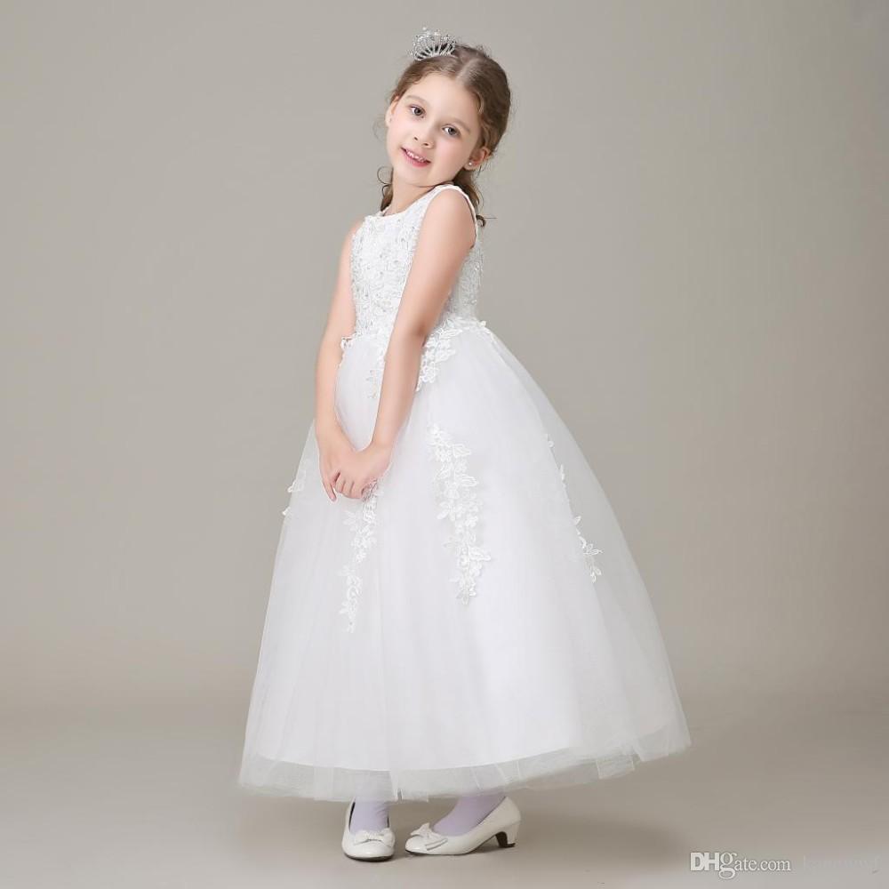 Vestidos de Daminha Weiße Prinzessin Tüll Spitze Perlen Ballkleid Lange Blume Mädchen Kleider für Hochzeiten 2015 Kinder Geburtstags-Partykleider