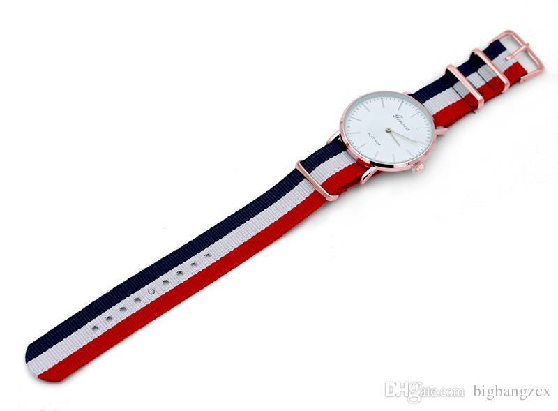 Новый открытый Женева наручные часы мода мужчины женщины платье часы нейлон ремешок золото Женева ультра тонкий кварцевые часы