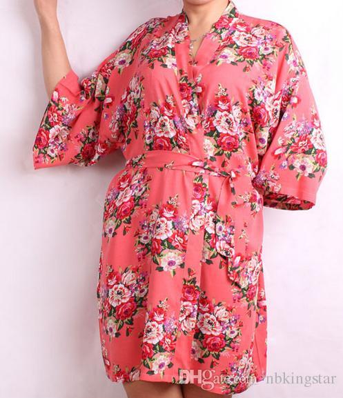 جديد الموضة الزهور المرأة الزفاف العرسان كيمونو رداء زهرة القطن سيدة سبا ليلة اللباس شحن مجاني