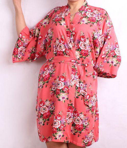 Yeni Moda Çiçek Kadınlar Düğün Gelin Kimono Robe Çiçek Pamuk Lady Spa Gece Elbise Ücretsiz Kargo