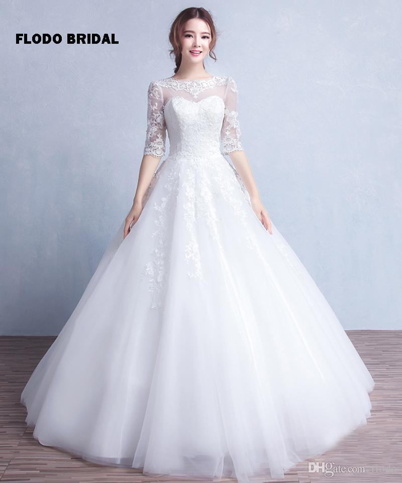 Vintage Beaded Lace Ball Gown Wedding Dresses 2016 Fall With Half ...