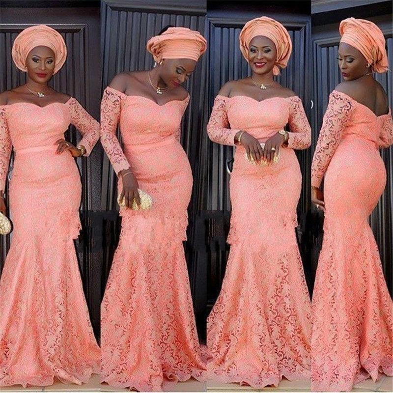 Afrikanische traditionelle neue Nixe-Abschlussball-Kleider klassische Spitze-Schatz-Ansatz-lange Hülsen-Nixe-lange Brautjunfer-Kleid-Partei-Kleider