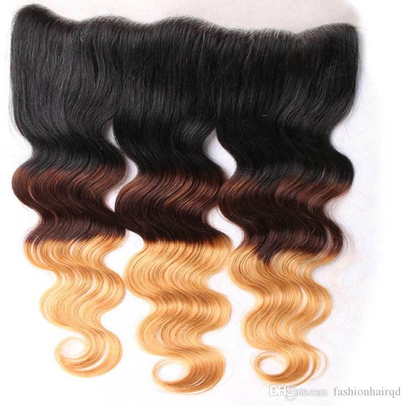 3 Tone Ombre Malaysian Virgin Hair Lace Frontal Closure Body Wave T1b/4/27 Cheap Human Hair Ombre Ear To Ear Lace Closure
