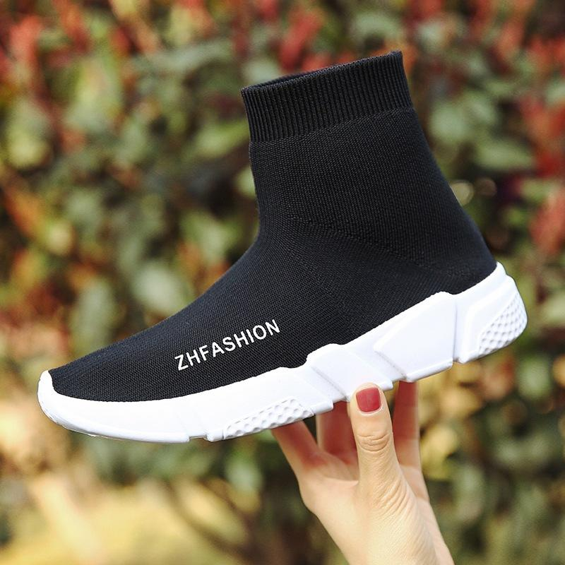 Breathable Socks Shoes Woman Casual Shoes Black Fashion Designer Elasticity  High Top Thick Heel Wedge Platform Shoes Female Woman Casual Shoes  Breathable ... d62a5427a9d7