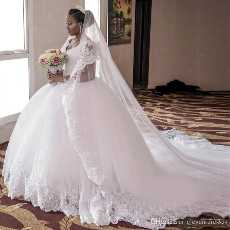 African Ball Gown White Tulle Lace Applique Princess Wedding Dresses ...