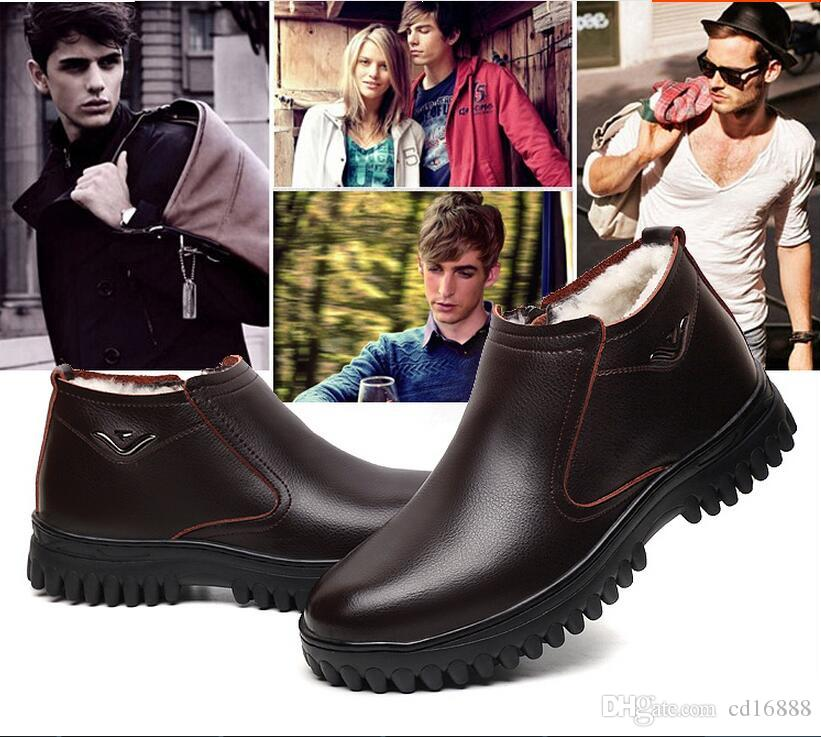 Most popular fashion shoes men boots winter ankle boots 2020 new Wool warm comfortable genuine leather shoes casual snow boots men shoes