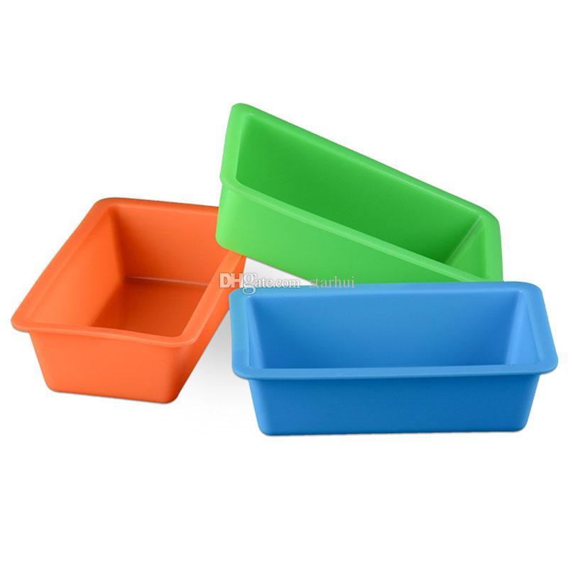 جديد البسيطة سيليكون diy نخب مربع العفن أدوات الخبز مستطيلة كعكة الخبز لوحة المطبخ أدوات الخبز مقاومة للحرارة متعدد الألوان WX9-100