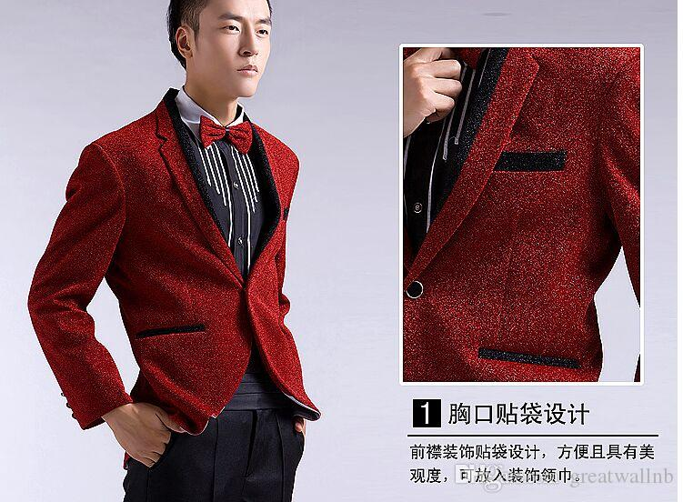 sports shoes new cheap top-rated Free shipping wine red/black glitter mens tuxedo  jacket/wedding/party/stuido stage performance,only jacket