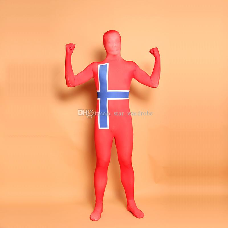 Halloween Red St George's Cross Cosplay Costumes Lycra Spandex Full Body Zentai Catsuit For Unisex