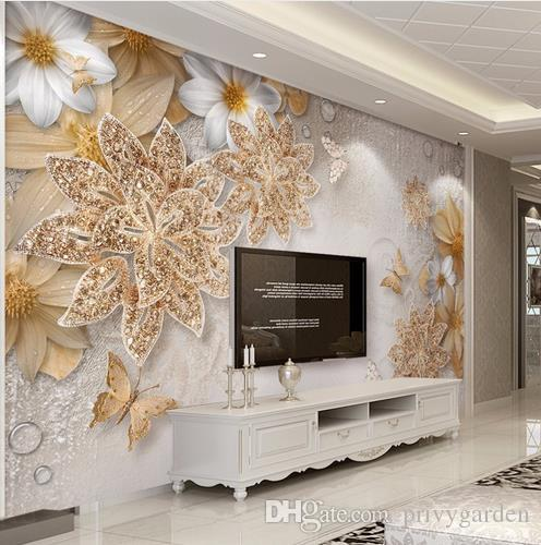 Elegant Custom Mural Wallpaper For Bedroom Walls 3d Luxury Gold Jewelry Flower  Butterfly Background Wall Papers Home Decor Living Room Free Hd Images  Wallpaper Free ...