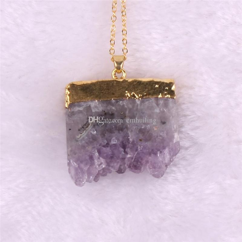 Natural Rough Quartz Purple Amethyst Nugget Beads Pendants Square Geode Crystal Druzy Druse Cluster Healing Specimen Natural Stones Minerals