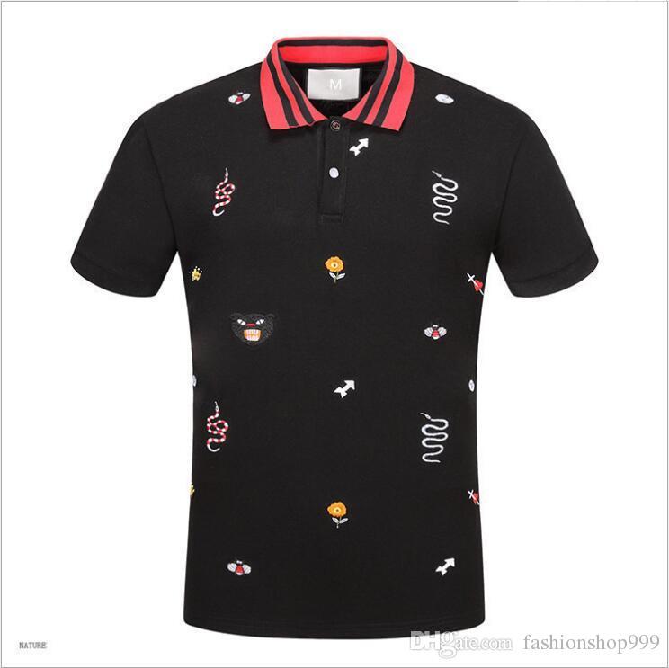 2017 neue Sommer Baumwolle t-shirt Floral Snake stickerei mode Kurzarm t-shirt Männer Marke T-shirt Männer Luxus Homme