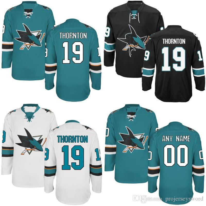 promo code 93435 d41e1 Men s San Jose Sharks Jersey #19 Joe Thornton #27 Joonas Donskoi #30 Aaron  Dell #31 Martin Jones #38 Micheal Haley Hockey Jerseys