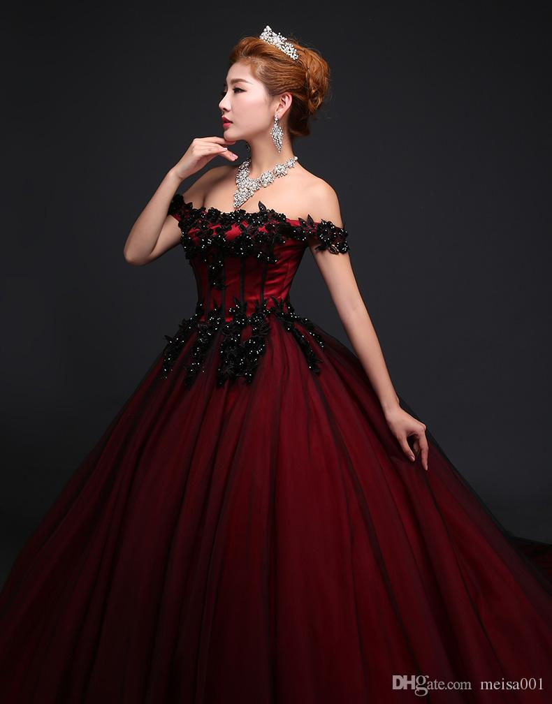 2017 New Style Boutique Ladies Red Wedding Dress Female Royal Dinner Dress  Tail Wedding Wedding Dress Clothing Word Sticker Corsage Cheap Bridal  Dresses ...