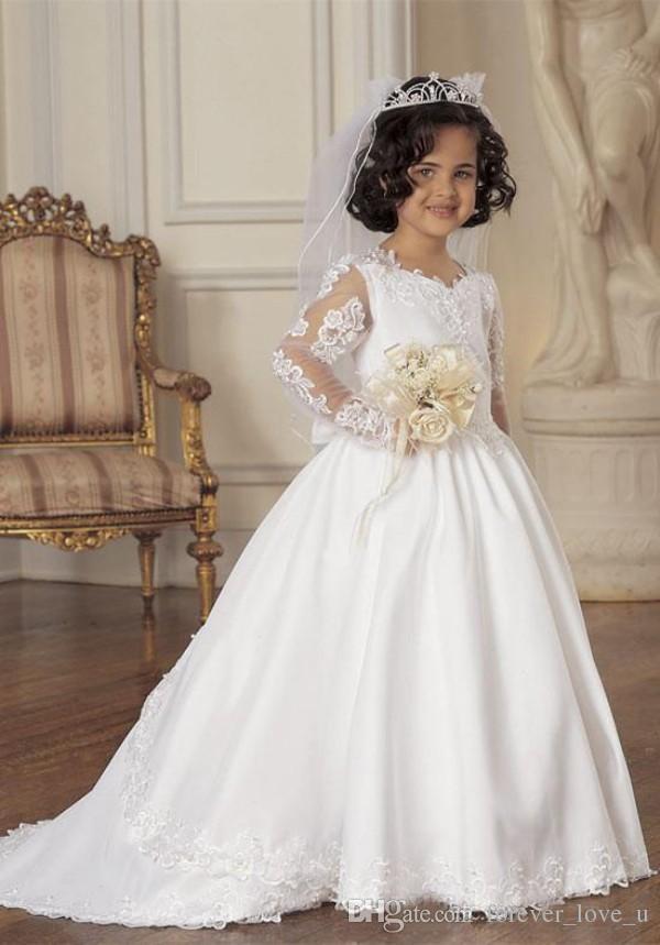 Modest Flower Girls Abiti matrimoni Illusion maniche lunghe Little Bride Abiti formali Kids Pageant Gowns con pizzo Appliques Sweep Train