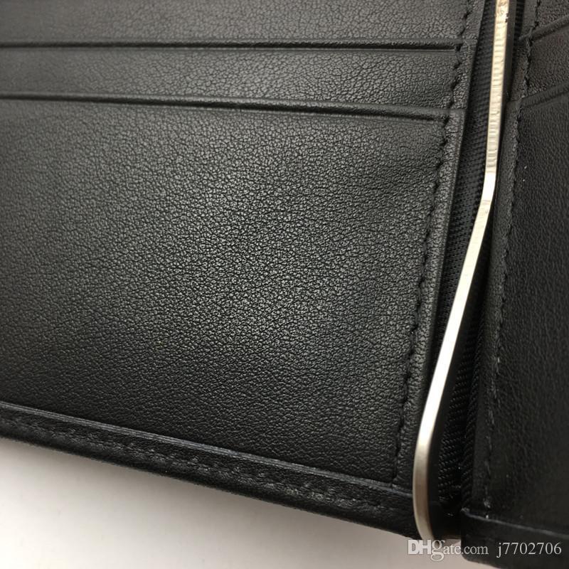 100% cuero genuino para hombre dólar precio dinero clips carteras moda clásico diseño negro billetera monederos tarjeta de crédito sostenedores de identificación Solt para hombre