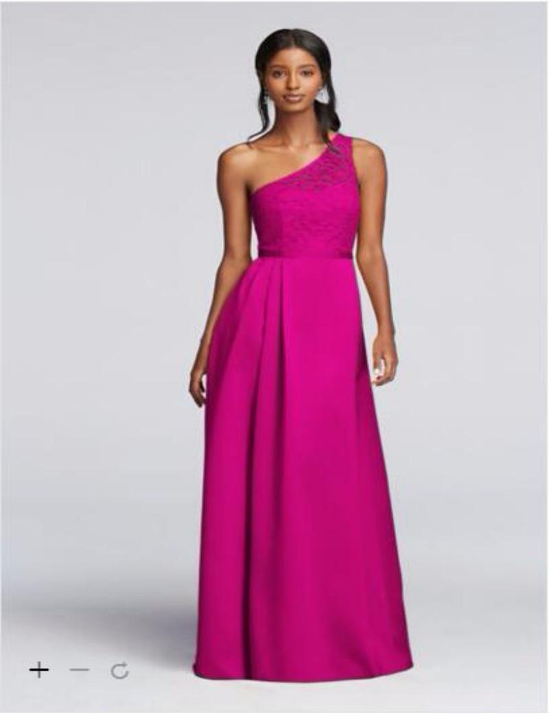 Compre 2016 Vestidos De Dama De Un Hombro A Largo Ilusión De La ...