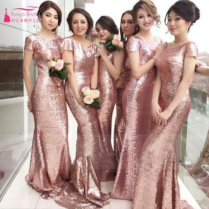 Único Púrpura Vestidos De Dama De Rosa Embellecimiento - Ideas de ...