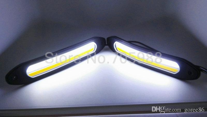 10 W 100% Su Geçirmez COB LED Gündüz farları Dönüm Sinyal DRL Beyaz / Sarı Araba Başkanı Işık