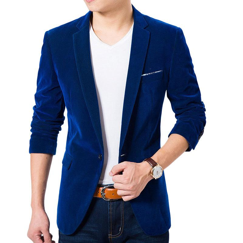 2017 High Quality Royal Blue Velvet Blazer Men 2016 New Autumn ...