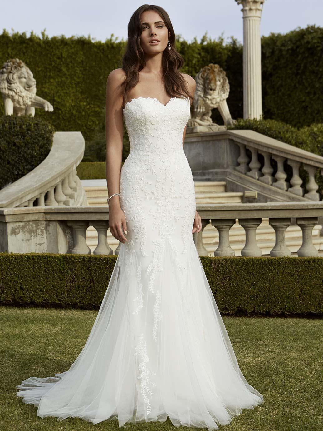 2016 Simple Mermaid Wedding Dresses Cheap Sexy Strapless Hem Lace ...