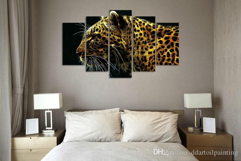 New 2017 Christmas present Modern 5 panels art leopard animal Painting on Canvas home decor wall art Print picture