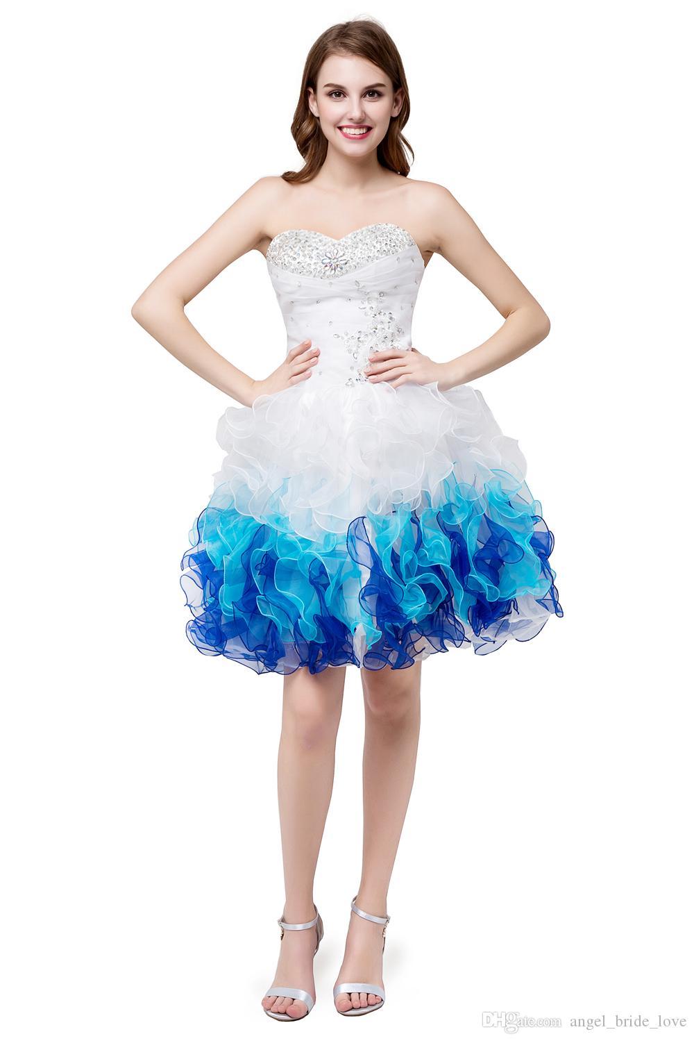 2019 Stokta Güzel Beyaz Mavi Sevgiliye Organze Ucuz Kısa Mezuniyet Elbiseleri Sevgiliye Mezuniyet Dresse Parti Balo Örgün Elbisesi QS1060