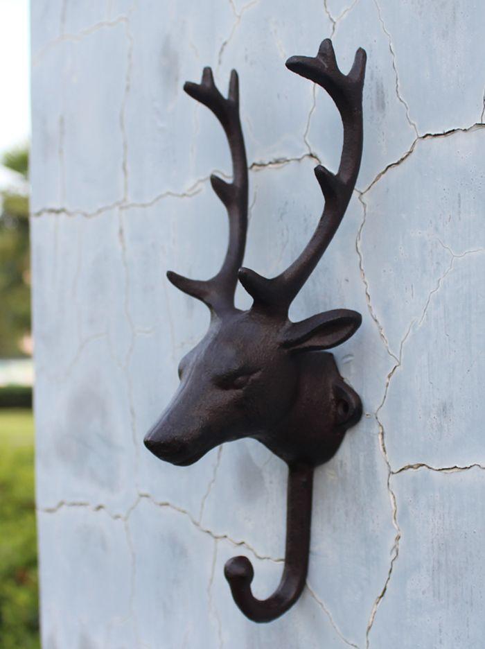 Moosehead Cast Iron Hooks Bronze Dark Green Rustic Wall Cottage Cabin Lodge Hook Metal Garden Hanger Holder Antique Vintage Animal