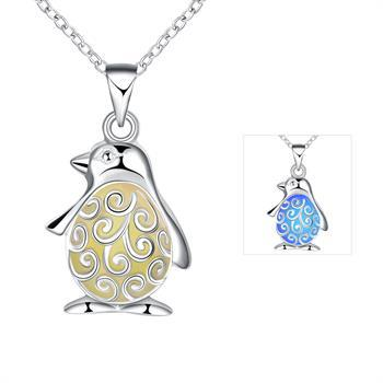 Wholesale fashion animal penguin pendant necklace silver jewelry for wholesale fashion animal penguin pendant necklace silver jewelry for women kids bijouterie gift glow in the dark choker accessories ygn017 c gold chains mozeypictures Images