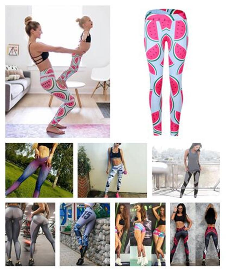 3655bf99b637f9 cute pink watermelon legging printed sport yoga pants women high waist gym  fitness leggings support drop shipping DHL 170916
