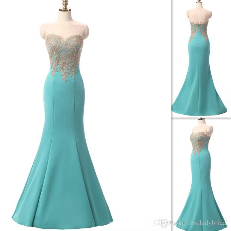 Turquoise Real Photo Bridesmaid Dresses 2017 Sheer Appliques Gold ...