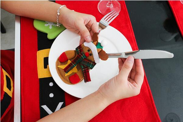 13CM * 15CM Tableware Decorations Snowman Silverware Holders Knife and Fork Bags Christmas Decorations Party Supplies