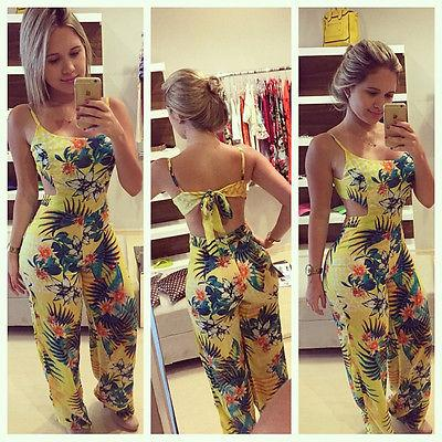 bdfbe386ab2 2019 Wholesale Women Summer Sexy Beach Floral Backless Long Playsuit  Jumpsuit Romper From Baimu