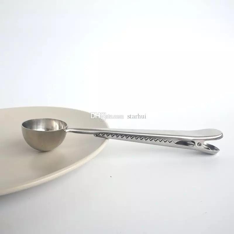 Cuchara dosificadora de café de acero inoxidable con sello de la bolsa Clip de plata multifunción jalea helado Cuchara cucharada de fruta Accesorios de cocina WX9-473