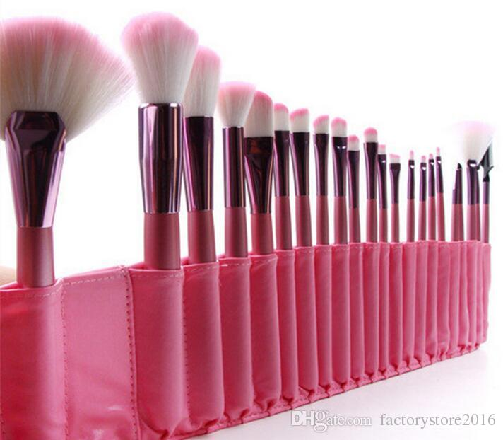 ! Best Quality Brand Makeup Brush Professional Pink Cosmetic Eyeshadow Powder Foundation Brush Set Kit PU Pouch Bag