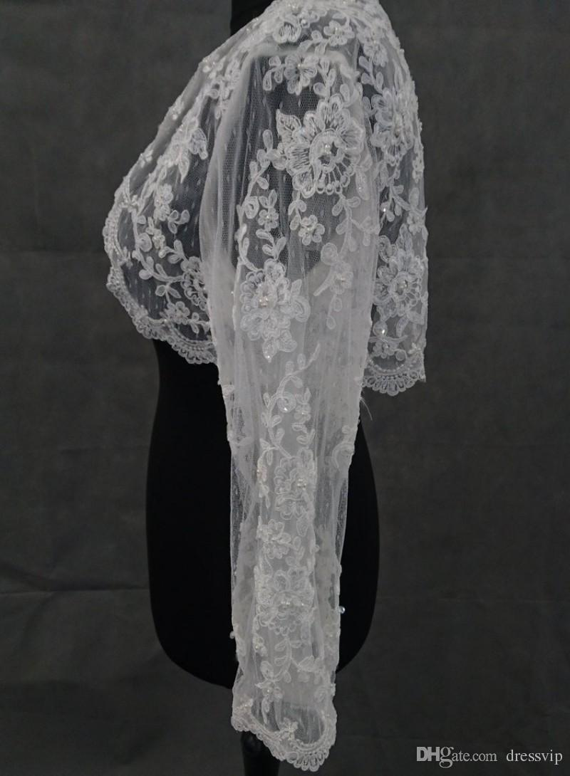 Lace Jacket For Wedding Dresses With Long Sleeve Applique Sequins Pearls Cheap Bolero For Evening Gown Formal Dress Wear