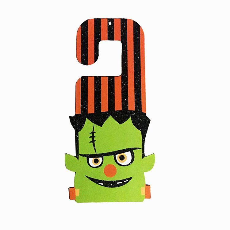 Halloween Pendant Chip Board Door Hanging Ornaments Pumpkin Bat Green Zombie Cat Shape Pendant For KTV Deco 3gf B R