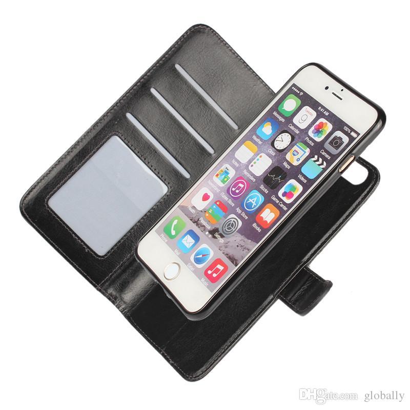2 in 1 Magnete magnetico Magnetico Staccabile Portafoglio Rimovibile in pelle Retro Custodia iPhone SE 5 5S 6 6S 7 Plus Galaxy S8 Plus