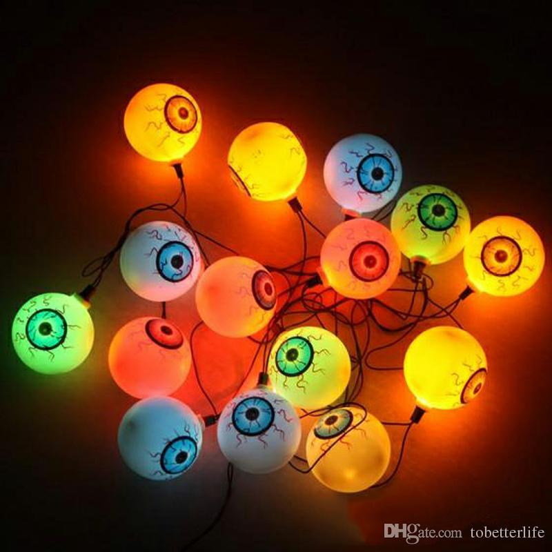 Flash Globe oculaire Cordes Horrible Halloween Thème Parti String Lumière Terreur Globe oculaire Strand Lattern Lampe-torche Fête de Noël Festival Décoration